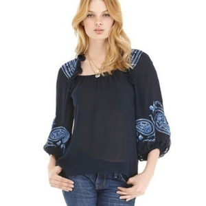 Nanette Lepore Silk Floral Embroidered Ruffle Top